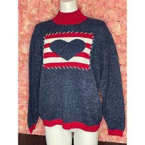 Tiara International Large Heart Blue Sweater NWT